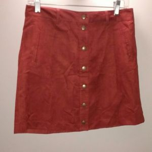Forever 21 copper faux suede button skirt